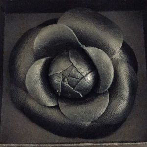 Chanel Beauty Black Leather Camellia Brooch